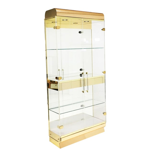 Metal Mid Century Lucite and Brass Display Cabinet With Drawer For Sale - Image 7 of 7