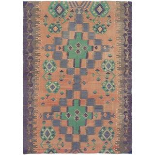 Green & Orange Turkish Kilim Rug - 5′ × 8′ For Sale