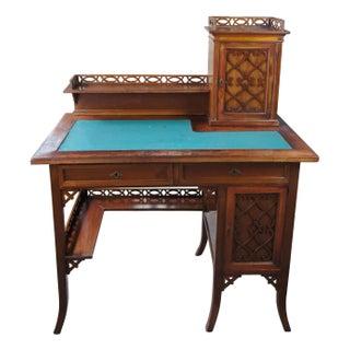 Antique Victorian German Desk Green Vinyl Top Gothic Pierced Fret Board Writing Desk Preview