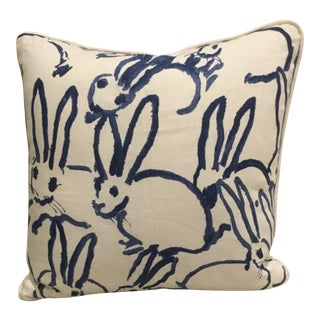 Lee Jofa Groundworks Navy Blue Bunny Hutch Print Pillow Cover For Sale