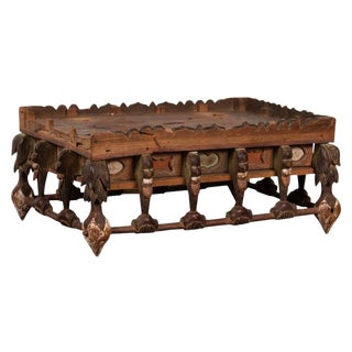 Japanese Edo Period Folk Art Altar Table with Carved and Painted Motifs For Sale