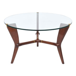 Midcentury Osvaldo Borsani Italian Modern Walnut, Brass and Glass Table For Sale