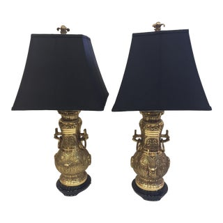1970s Asian Style James Mont Large Brass Lamps - a Pair For Sale
