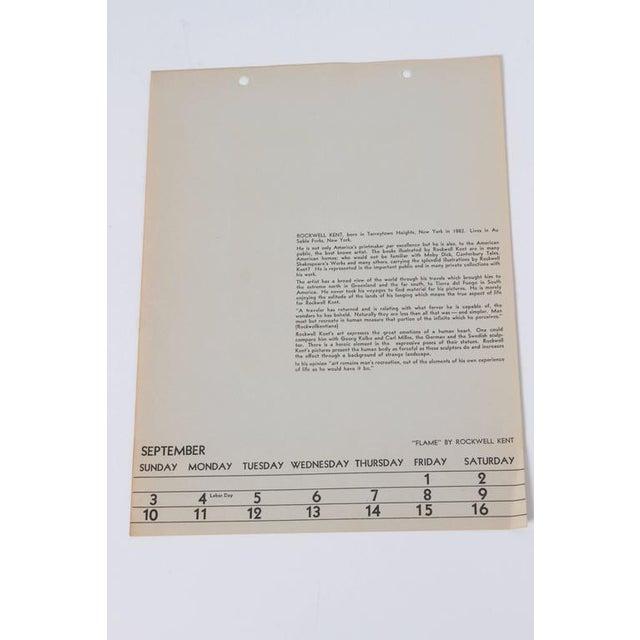 "White Art Deco 1939 Rockwell Kent ""Flame"" Original Block Print Calendar For Sale - Image 8 of 11"