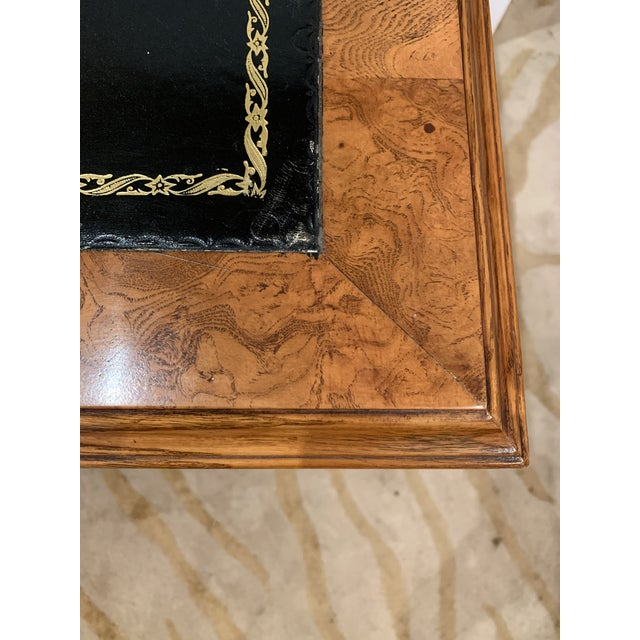 Vintage Mahogany Writing Desk With Black Leather Top For Sale In Philadelphia - Image 6 of 13