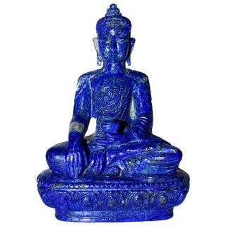 Lapis Lazuli Buddha Statue, 3.4 Lb, Finest Grade For Sale