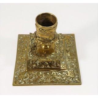 Antique European Solid Brass Ornate Leaf & Fleur De Lis Design Candle Holder Preview