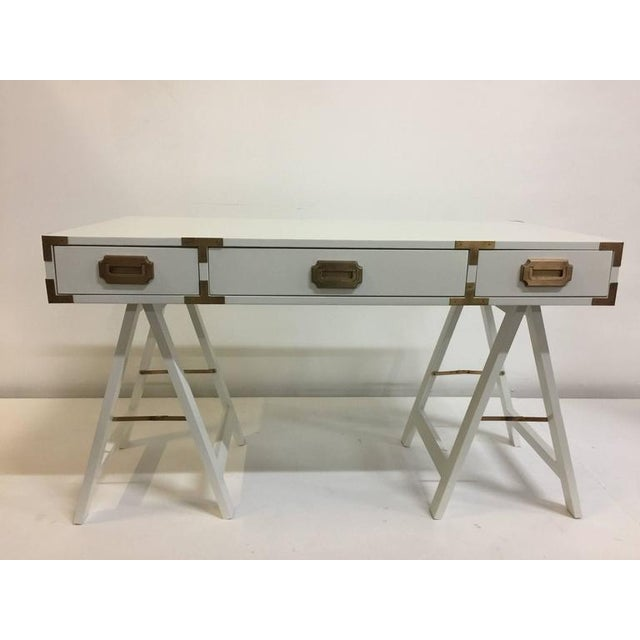 Brass Vintage Campaign Desk with Original Patinated Brass Hardware For Sale - Image 7 of 7