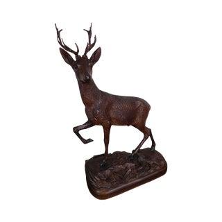 Black Forest Antique Hand Carved Stag Deer Statue For Sale
