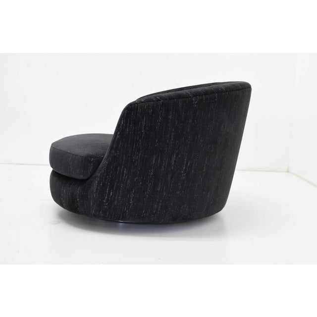 Milo Baughman Oversized Swivel Satellite Chairs in Black Cut Velvet, 1970s - a Pair For Sale - Image 11 of 13