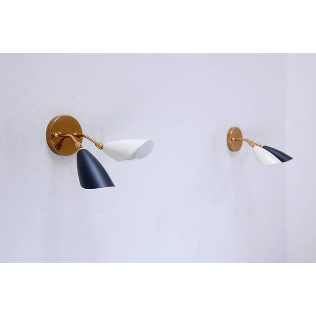 1950s Double Shaded Spot Light Sconces For Sale - Image 4 of 10