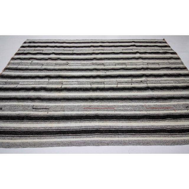 Contemporary Vintage Black & Gray Striped Kilim Rug- 8′ × 10′2″ For Sale - Image 3 of 7