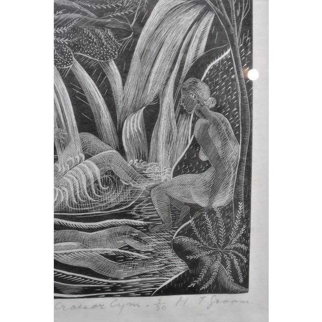 "Black American Art Deco Etching ""Girls Bathing in Craesor Gym"" 3/30 Ed by M. E. Groom 1920s For Sale - Image 8 of 13"