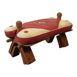1960s Boho Chic Adjustable Camel Foot Stool Ottoman For Sale