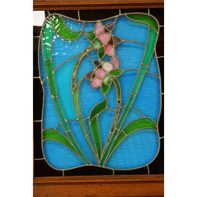 Antique Flemish Floral Stained Glass & Oak Hutch - Image 7 of 8