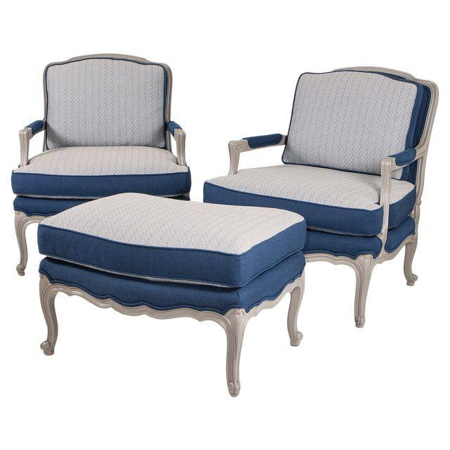 Vintage Baker Louis XV Chairs and Ottoman Set - Image 1 of 8