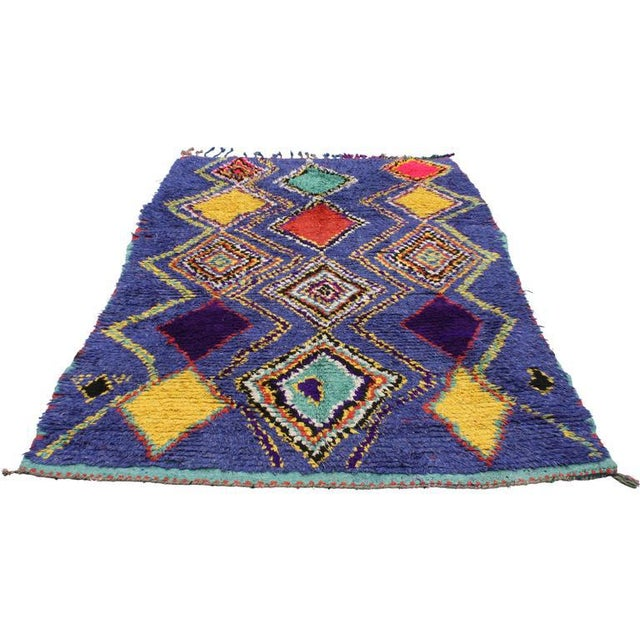 "Boho Chic Vintage Berber Moroccan Tribal Diamond Rug - 4'8"" X 7'3"" For Sale - Image 3 of 9"