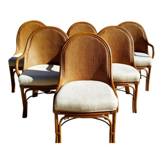 High-End Rattan & Cane Dining Table and Six Chairs For Sale