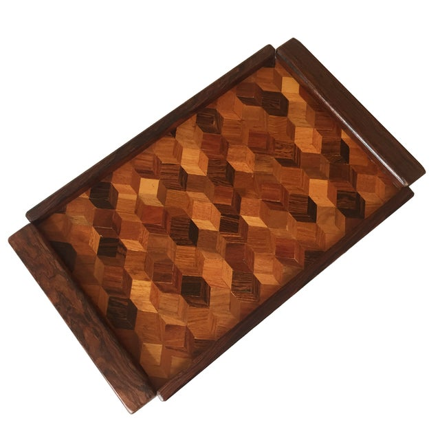 Don Shoemaker Cocobolo Op Art Tray - Image 1 of 8
