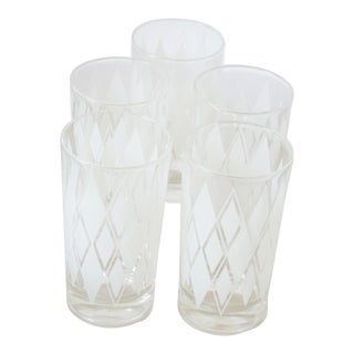 1950s Mid-Century Frosted White Argyle Tumblers - Set of 5 For Sale