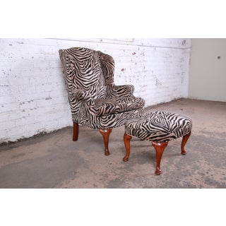 Queen Anne Style Wingback Lounge Chair and Ottoman in Zebra Print Upholstery Preview