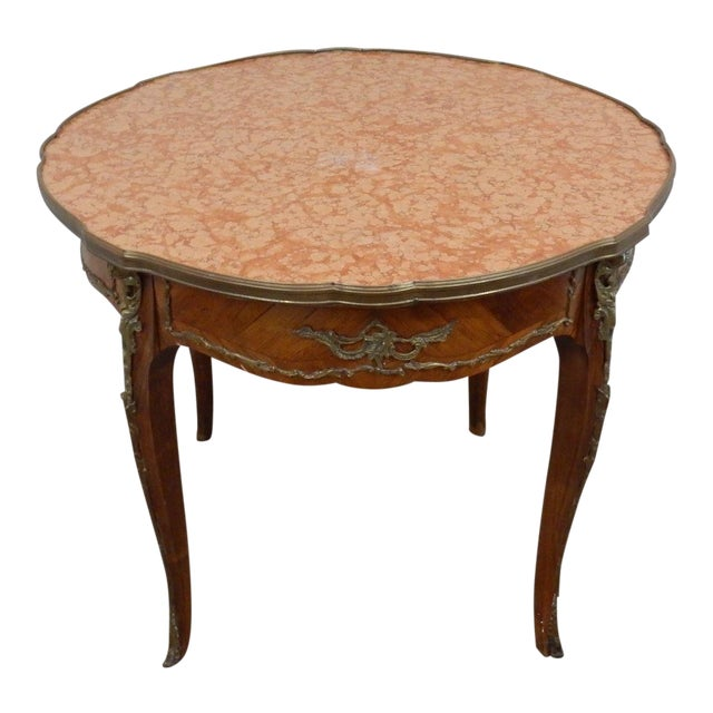 Antique French Inlaid Marble Top Table For Sale