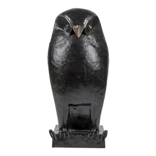 Owl Hammered Metal France Circa 1980. For Sale