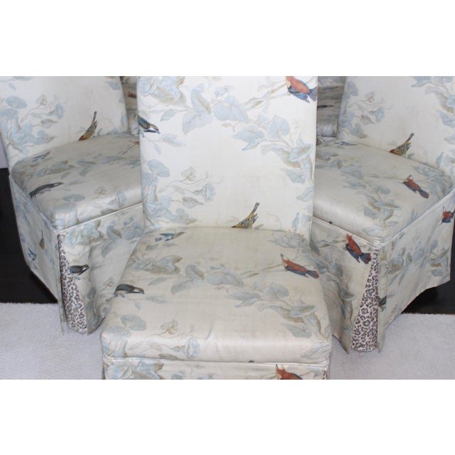 Beautiful and subtle floral/birds, with a peek of animal print leopard at the legs. SO transitional, pair with your modern...