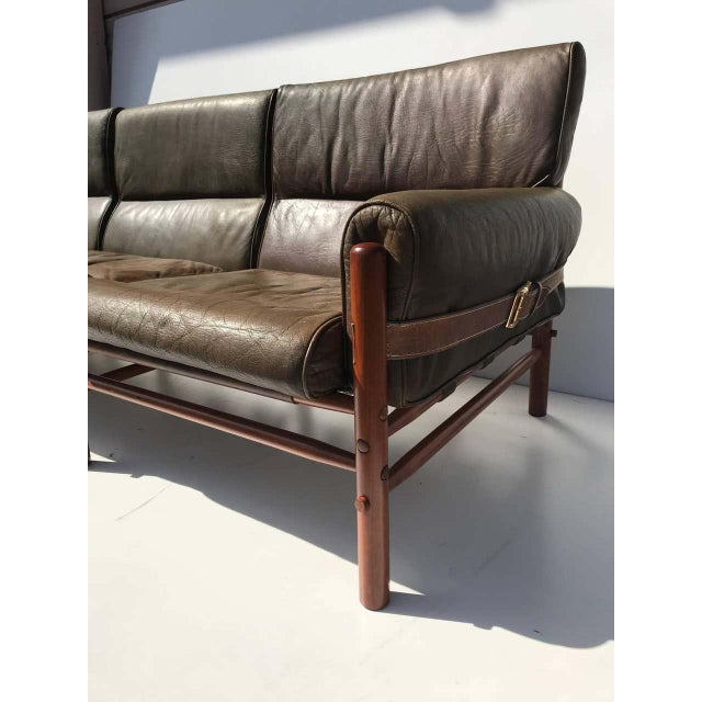 """Mid-Century Modern Arne Norell Leather """"Kontiki"""" Sofa For Sale - Image 3 of 13"""