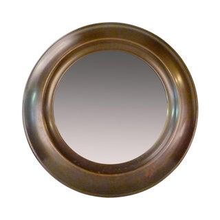Large Round Mid-Century Brass Mirror For Sale