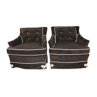 Daniel Jones Black Velvet Vintage Club Chairs