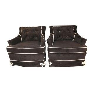 Daniel Jones Black Velvet Vintage Club Chairs For Sale