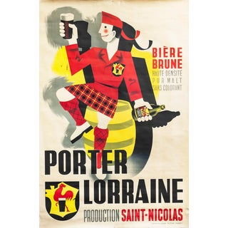 1940s Original French Beer Poster, Porter Lorraine For Sale