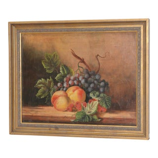"""19th Century Americana """"Fruit Table"""" Still Life Oil Painting For Sale"""