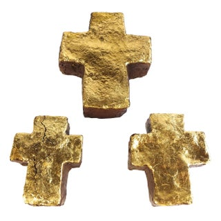 Set of Three Gilded Ceramic Crosses