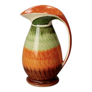 Myott Color Block Pottery Pitcher in Orange and Green