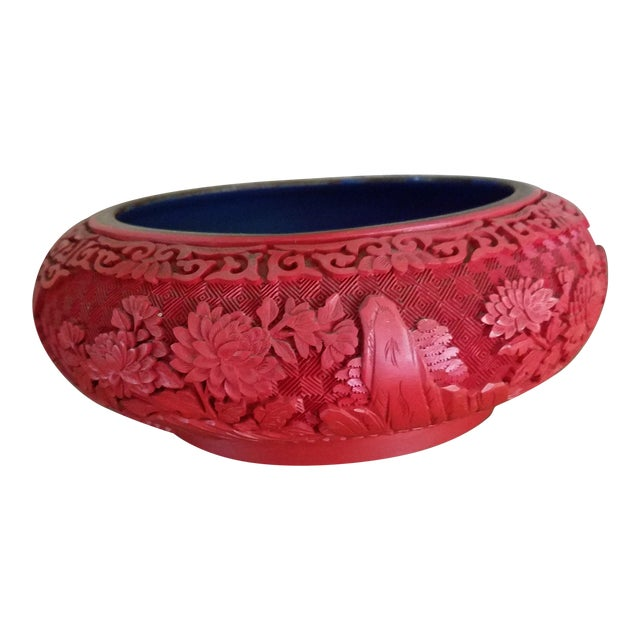 Chinese Hand Carved Cinnabar Red Bowl For Sale