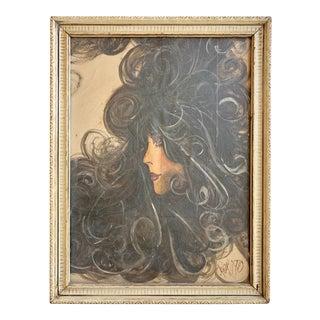 Vintage 1970's Portrait of a Women For Sale