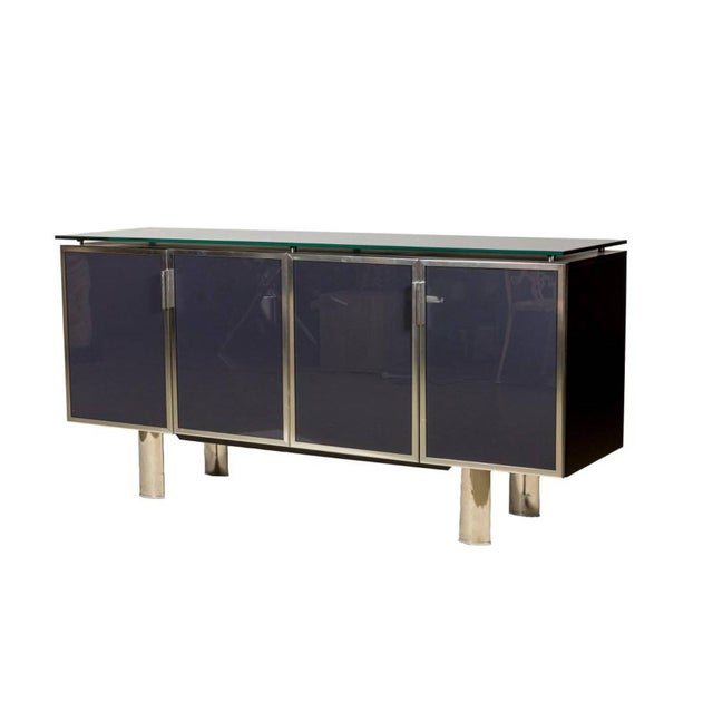 Blue 1970s Hollywood Regency Black Smoked Mirror and Midnight Blue Credenza For Sale - Image 8 of 8