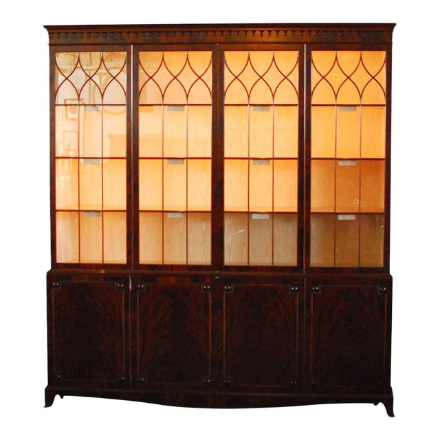 Historical George III Mahogany Display Cabinet Bookcase For Sale