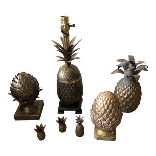 Brass Pineapple Lamp and Pineapple Collection - Set of 7