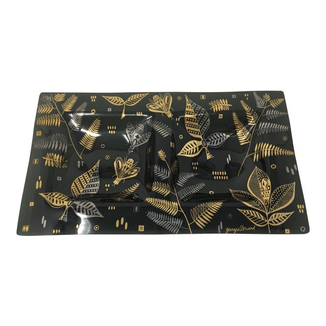 Midcentury Modern Georges Briard Black, Silver and Gold Glass Double Serving Dish For Sale