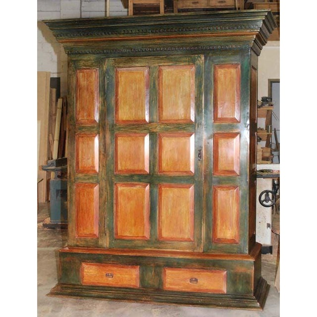 Large Green and Red Painted Armoire For Sale - Image 9 of 10