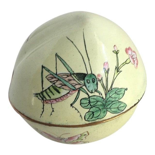 Vintage Hand Painted Dragonfly Enamel Trinket Box For Sale