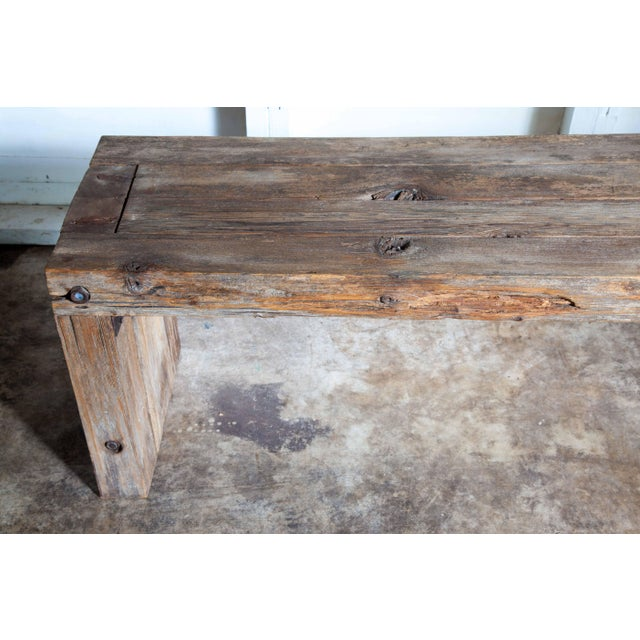 """Reclaimed Wood Parsons Dining Entry Bed Bench Coffee Table 70"""" For Sale - Image 10 of 11"""