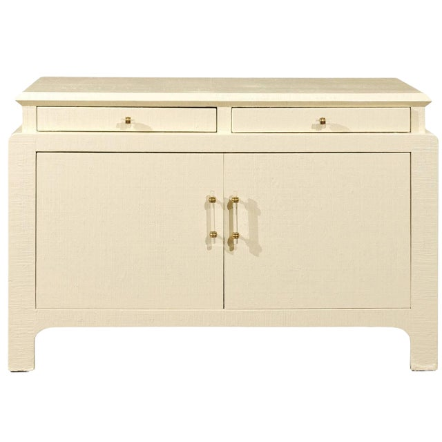 Gorgeous Restored Raffia Cabinet by Harrison-Van Horn in Cream Lacquer For Sale