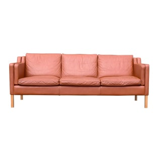 Børge Mogensen-Style Danish Leather 3-Seat Sofa by Stouby