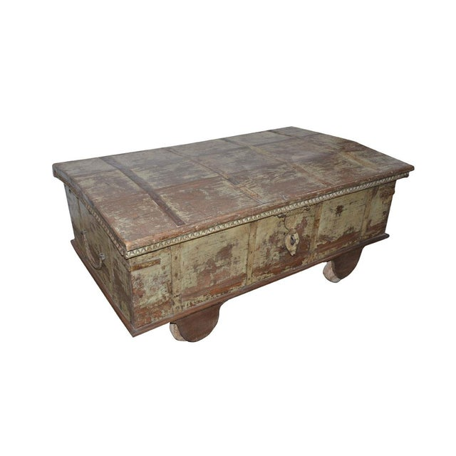 One of a kind vintage Indian reclaimed wedding chest styled into trunk coffee table, old dowry chest with gorgeous patina...