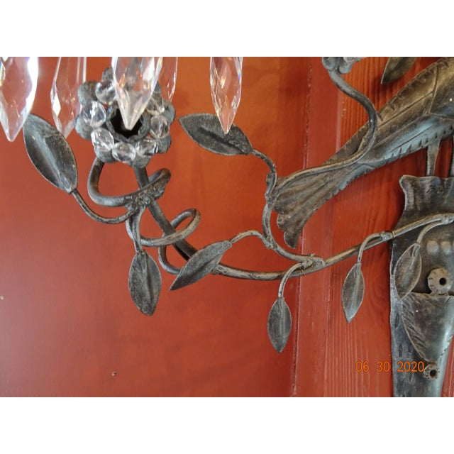 Italian Iron and Crystal Sconces - a Pair For Sale In New Orleans - Image 6 of 13