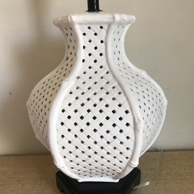 White White Faux Bamboo Table Lamp For Sale - Image 8 of 11